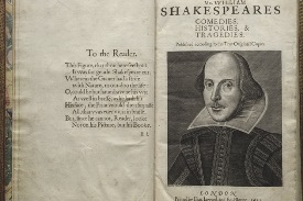 Title page of Shakespeare's First Folio, published in 1623. Image courtesy of the Folger Shakespeare Library.
