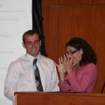 Prof. Alexis Dudden presents the Roger N. Buckley Award to Harrison Fregeau