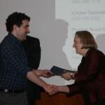 Prof. Cornelia Dayton presents the Graduate Student Teaching Excellence Award to Kevin Finefrock