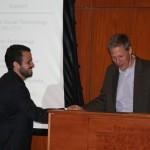 Prof. Mark Healey presents the Hugh M. Hamill Graduate Fellowship in Latin American History to Orlando Deavila