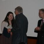 Prof. Frank Costigliola presents the Andrew W. Pyper Scholarship to Gabrielle Westcott