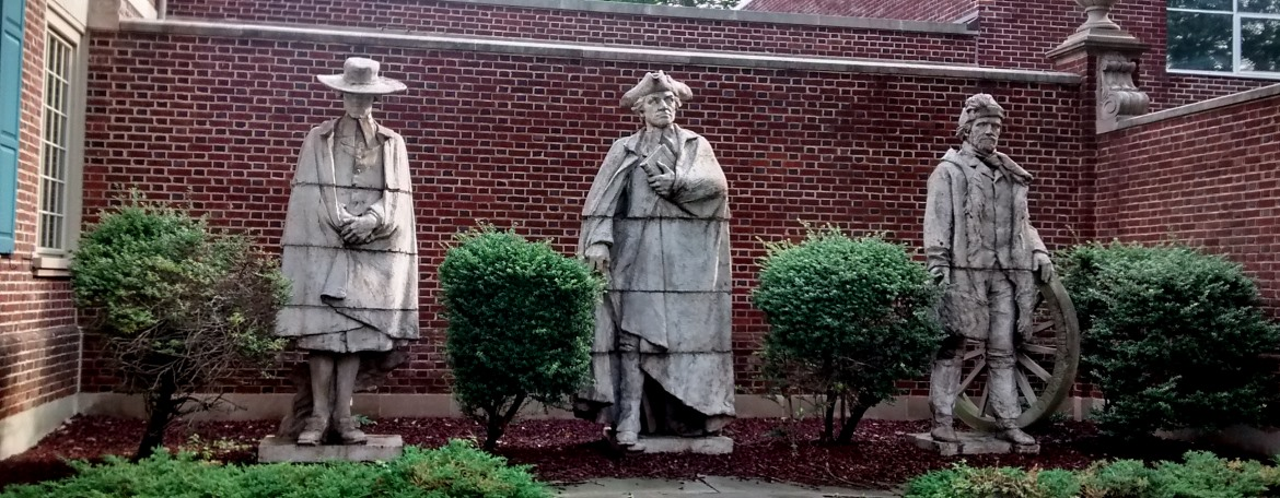 Statues of Presbyterian ministers outside the Presbyterian Historical Society, Philadelphia, PA.