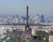 Distance view of Paris, featuring Eiffel Tower