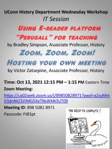 Flyer for October 13 Wednesday Workshop